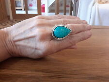 BRAND  NEW  SILVER RING WITH A LARGE TURQUOISE  STONE  SIZE Q WITH GIFT BOX