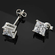 1 Pairs Women's Mens Solid Diamond Crystal Square Ear Stud Earrings Xmas Gift ca