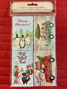 Molly & Rex/Punch Studio Set of 4 Christmas Gift Card Holders-New