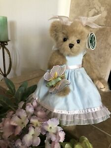 "Bearington Bears FLORA & FLUTTERBY #143183 2009 14"" Plush SP 🐻Blue Dress/🦋NWT"