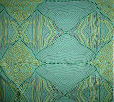 Kokos String Green Aboriginal Australian Design Quilting Fabric 1/2 metre