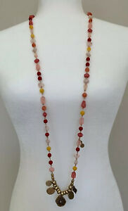 Chico's Acrylic Chain Long Necklace With Beads & Coins Pinks/Gold/White