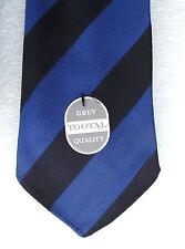 Striped Tootal tie vintage 1950s UNUSED Royal Blue Black stripes Grey Quality