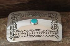 Navajo Hand Stamped Sterling Silver Turquoise Belt Buckle