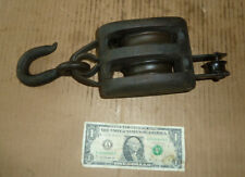 """Vintage Double Roller Pulley,Black,Old Nautical,Marine,Boat Tool,A.12-1/2"""" Long"""