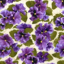 Debbie Beaves Lovely Purple Cream Pansy Paradise Floral Quilt Fabric 1444--002