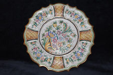 DERUTA ITALIAN POTTERY Gialletti GP Dec A Mano IN ITALY flowers enamel rim gold