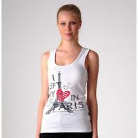 Just Add Sugar Womens Tank Love Paris Top Grey White Cool Summer Tee RRP $34.95