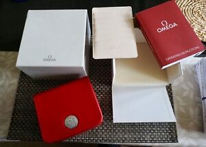 GENUINE RED  OMEGA SEA MASTER /SPEED MASTER BOX AND CARD HOLDER