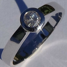 Solitaire Engagement Round cut DIAMOND RING 18k solid white gold US size 6.75