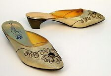 ViNTAGE 50s 60s GOLD METALLiC HAWAiiAN JEWELED PiNUP PUMPS DRESS SHOEs sz 5.5