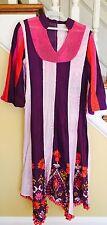 Embroidered Cotton Lawn Pakistani Indian Kurta Shirt Anarkali Color Block S Used