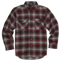 YAGO Men's Casual Plaid Flannel Long Sleeve Button Down Shirt Red/AC7 (S-5XL)