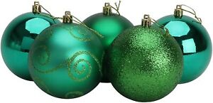 Pack of 5 Extra Large 100mm Emerald Green Christmas Tree Baubles - BA1005EG