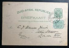 1896 Johannesburg South Africa Stationery Postcard Cover To London England