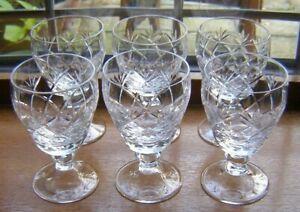BEAUTIFUL SET 6 `WHITEFRIARS` CUT GLASS CRYSTAL PORT WINE GLASSES 10.5CM X 6.2