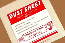 2 EXTRA LARGE DURABLE 12' x 12' COTTON TWILL DUST SHEET PROFESSIONAL QUALITY NEW