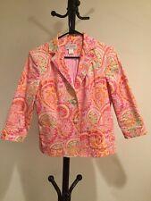 New Women's J.G.HOOK Pink/yellow Paisley Cotton /spandex Jacket/blazer Size 8