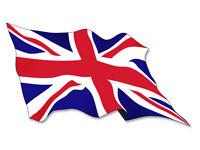 3x5 inch WAVING Union Jack Flag Sticker - decal wave england uk britain british