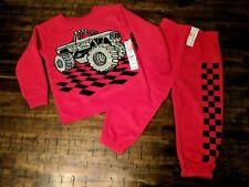 "Toddler Boys /""LETS RACE/"" SPORTS CAR S//S T-SHIRT Red Shorts w// Lightning Bolt 2T"