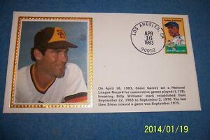 1983 SAN DIEGO Padres STEVE GARVEY Silk CACHET Sets NEW Consecutive Game RECORD