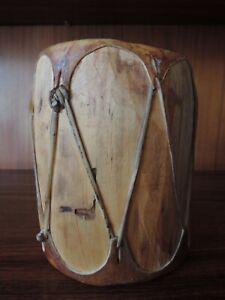 Vintage COCHITI PUEBLO WOOD DRUM, 1966, New Mexico, Native American Art