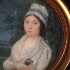 Miniature XVIIIe Portrait Femme coiffée d'une charlotte vers 1789-1790 18th