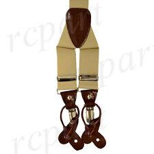 New in box Men's Suspender Khaki tan elastic braces clips buttons casual