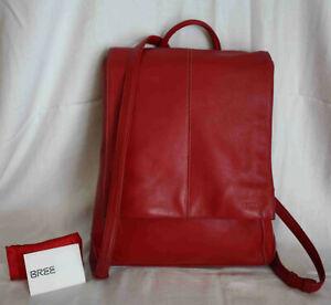 BREE Rucksack Leder backpack Messenger Schultertasche Freizeit City Bag rot