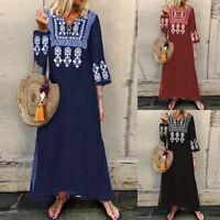ZANZEA Womens Floral PrintV Neck Long Dress Ladies Casual Maxi Dresses Kaftan