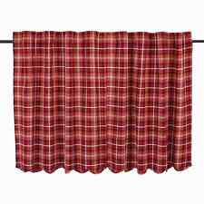 BRAXTON Scalloped Tier Set Lined Red/Ebony Plaid Cabin Cotton Lodge Rustic 36""