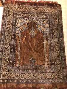 Vintage Kayseri Prayer Rug SILK Shimmering 3x5'