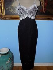 Brilliante by J.A. Black White Beaded Silk Gown-S