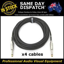 "4x 5M Electric Guitar Cable Cord Noiseless 1/4"" Jack Instrument Lead 5 Metre"