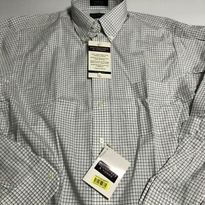 Roundtree & Yorke Mens Button Down LS Shirt Size 16 Sleeve 34 Gray Check
