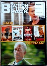 8 Action Film Pack: Cage/Freeman (DVD, 2014, 2-Disc Set) New factory sealed