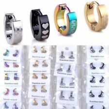 10 Pairs Wholesale Mix Lots Punk Stainless Steel Earrings Hoop Huggie Ear Studs