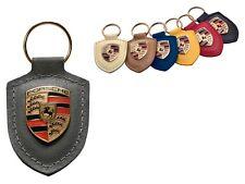 Porsche Original Agate Leather Key Fob with Colour Crest in Presentation Box
