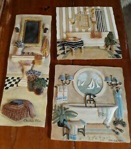 C Winterle Olson Set 3 Bathroom Plaques Wall Art Decor 3D Bathtub Resin vintage