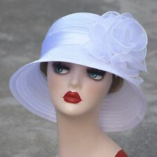 Pure Color 1920s Womens Summer Organza Bowler Sun Hat Derby Tea Party