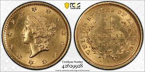 1849 G$1 No L Genuine UNC Details (95 - Scratch) Third Rarest Dollar Only 1k Min