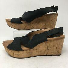 Clarks Artisan Womens Wedge Heel Sandals Leather Strap Slip On Black Buckle 9.5M