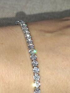 """Platinum over SOLID 925 Sterling silver CZ Tennis line bracelet 7.75"""""""