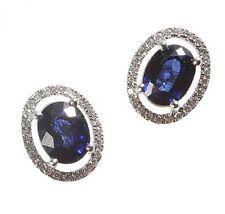 18 Carat Oval Sapphire White Gold Fine Earrings