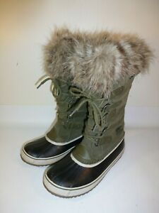 SOREL Joan of Arctic Boots Women's Green Leather Insulated Waterproof - US 12