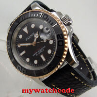 41mm PARNIS black dial Sapphire glass Ceramic bezel automatic mens watch