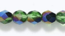 24 Green Chalcedony Crackle glass Quartz Faceted Rondelle Bead 10x8mm