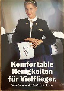 SAS SCANDINAVIAN AIRLINES NEW EUROCLASS 1980s BROCHURE CABIN CREW DC10