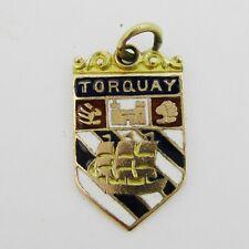 Nice 9ct Gold & Enamel Torquay Charm