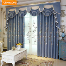 Fresh simple Chinese embroidered blue cloth curtain tulle valance drape N756